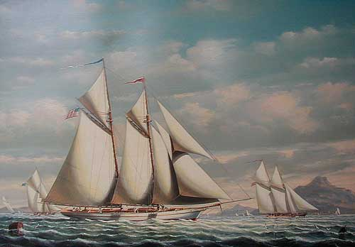 Yacht Magic Racing off Portugal - Painting by Salvatore Colacicco