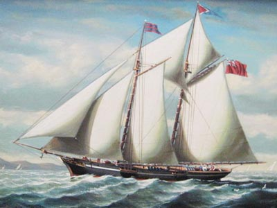 Schooner 1 - Painting by Salvatore Colacicco
