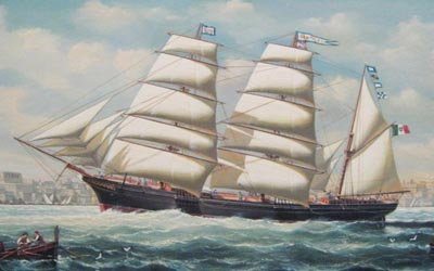 Schooner off Malta - Painting by Salvatore Colacicco