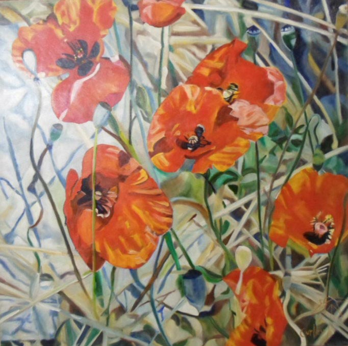 Poppies - Painting by Sean Curley