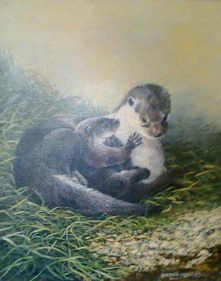 Otters - Painting by Stephen Cummins