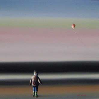 Boy with Kite - Painting by Steve Johnston