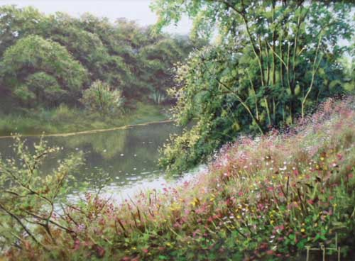 River Scene - Painting by Terence Grundy