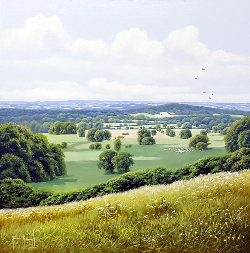 Distant Fields - Painting by Terence Grundy