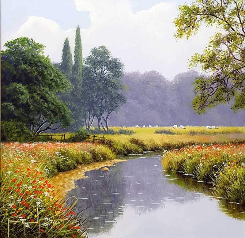 Gentle Pastures - Painting by Terence Grundy