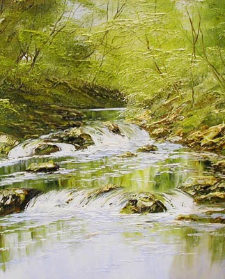 River scene 04 - Painting by Terry Evans