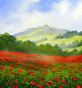 TE1 Poppies - Painting by Terry Evans