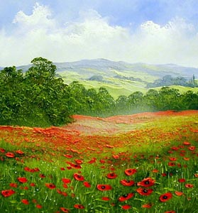TE2 Poppies - Painting by Terry Evans