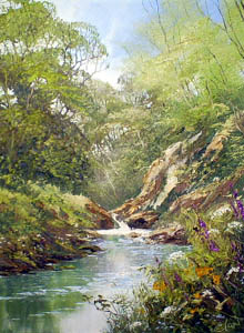 Waterfall Scene - Painting by Terry Evans