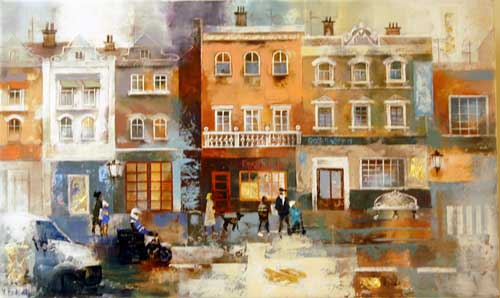 The Old Street - Painting by Veronika Benoni